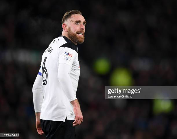 Richard Keogh of Derby County looks on during the Sky Bet Championship match between Derby County and Leeds United at iPro Stadium on February 21...