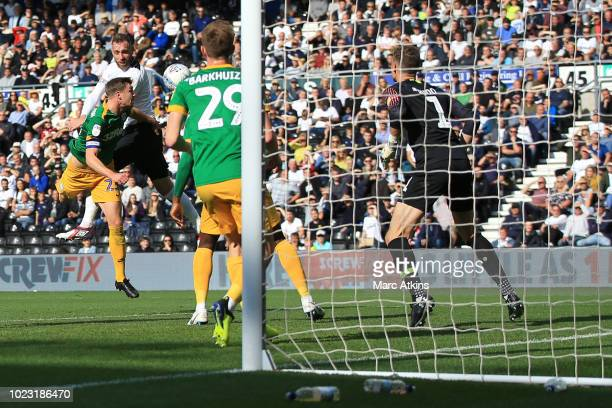 Richard Keogh of Derby County scores their 2nd goal during the Sky Bet Championship match between Derby County and Preston North End at Pride Park...