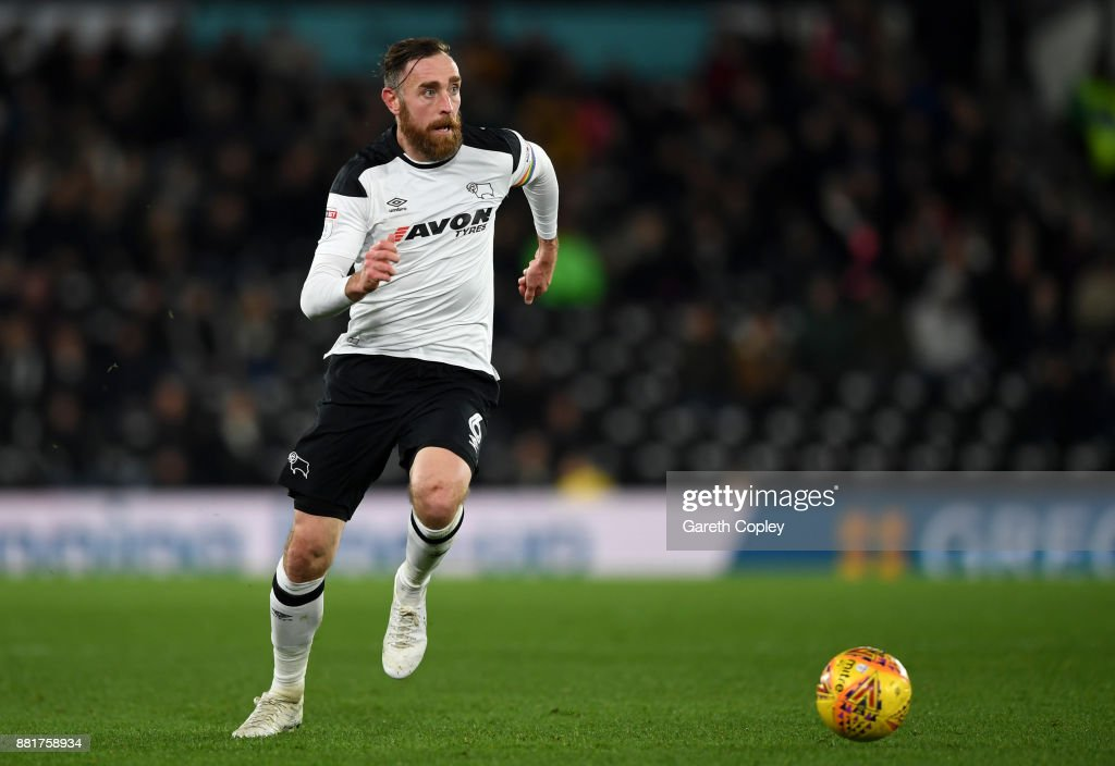Richard Keogh of Derby during the Sky Bet Championship match between Derby County and Ipswich Town at iPro Stadium on November 28, 2017 in Derby, England.