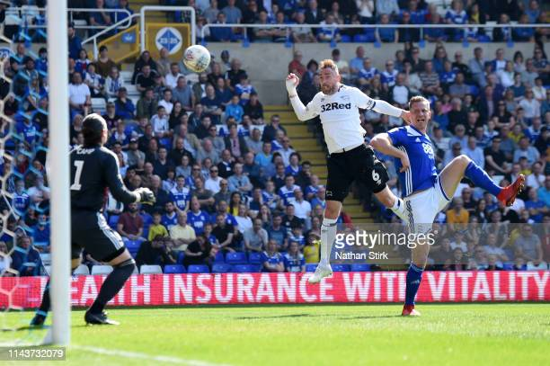 Richard Keogh of Derby scores his team's second goal during the Sky Bet Championship match between Birmingham City and Derby County at St Andrew's...