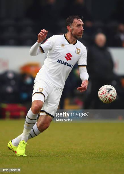 Richard Keogh of MK Dons during the Emirates FA Cup Second Round match between Barnet FC and Milton Keynes Dons at The Hive London on November 29,...