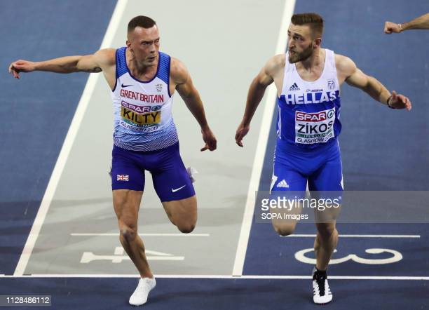 Richard Kilty and Konstadinos ZIKOS of Greece are seen as they cross the line neck by neck and the race was eventually won by Zikos at the European...