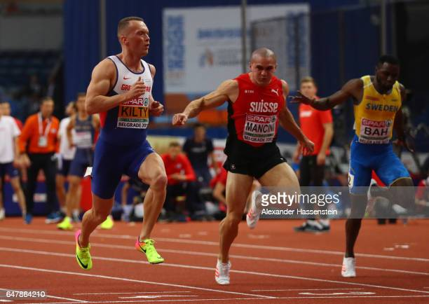 Richard Kilty of Great Britain advances to the final during the Men's 60 metres semi finals on day two of the 2017 European Athletics Indoor...