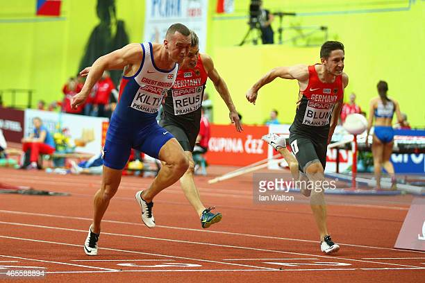 Richard Kilty of Great Britain Northern Ireland crosses the line to win gold ahead of Christian Blum of Germany and Julian Reus of Germany in the...