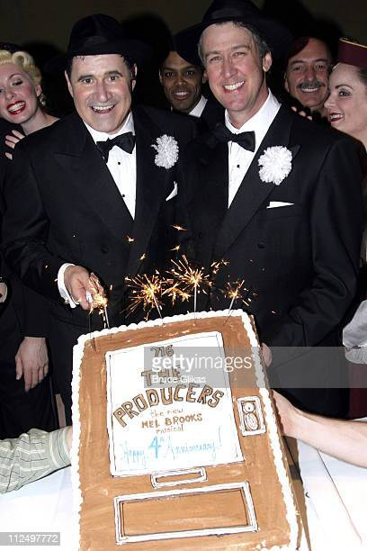 Richard Kind and Alan Ruck during 'The Producers' Celebrate Their 4th Anniversary on Broadway at St James Theater in New York City New York United...