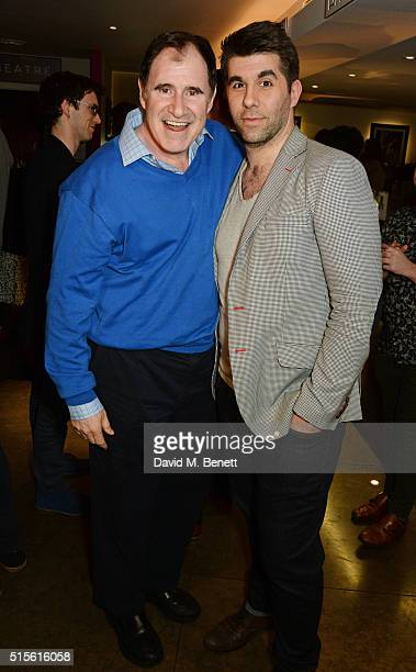 Richard Kind and cast member Simon Lipkin attend the press night after party for 'Miss Atomic Bomb' at the St James Theatre on March 14 2016 in...