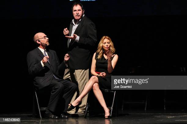 Richard Kind and Olivia d'Abo perform with a member of The Second City on stage at the Alliance For Children's Rights 3rd annual celebrity Right To...