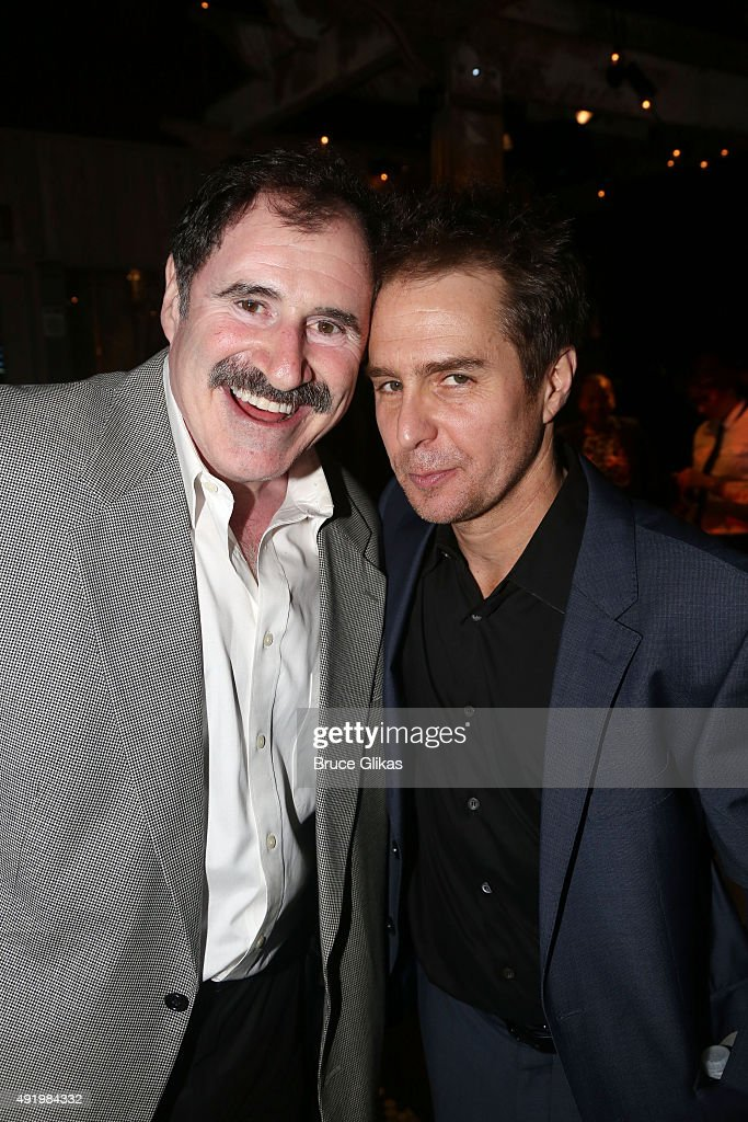 Richard Kind and Sam Rockwell pose at The Opening Night for the MTC production of Sam Shepard's 'Fool For Love' on Broadway at Urbo NYC on October 8, 2015 in New York City.