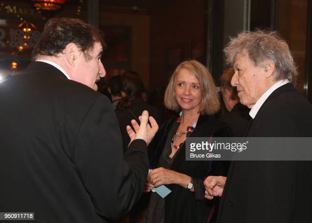Richard Kind Sabrina Guinness and Playwright Tom Stoppard chat at the opening night of Tom Stoppard's play Travesties on Broadway at The American...