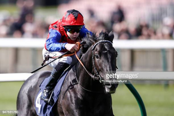Richard Kingscote riding Jackstar win The Montaz Restaurant EBF Novice Stakes at Newmarket racecourse on April 17 2018 in Newmarket England