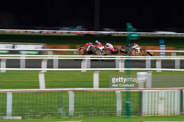 Richard Kingscote riding Tranchee win The Unibet 3 Uniboosts A Day Conditions Stakes at Kempton Park Racecourse on January 06, 2021 in Sunbury,...