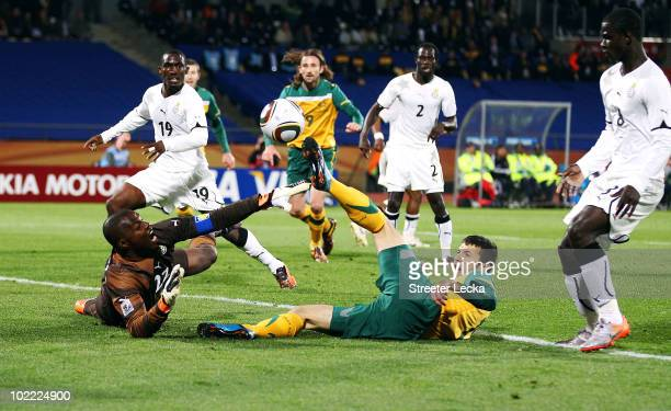 Richard Kingson of Ghana saves a shot by Nikita Rukavytsya of Australia during the 2010 FIFA World Cup South Africa Group D match between Ghana and...