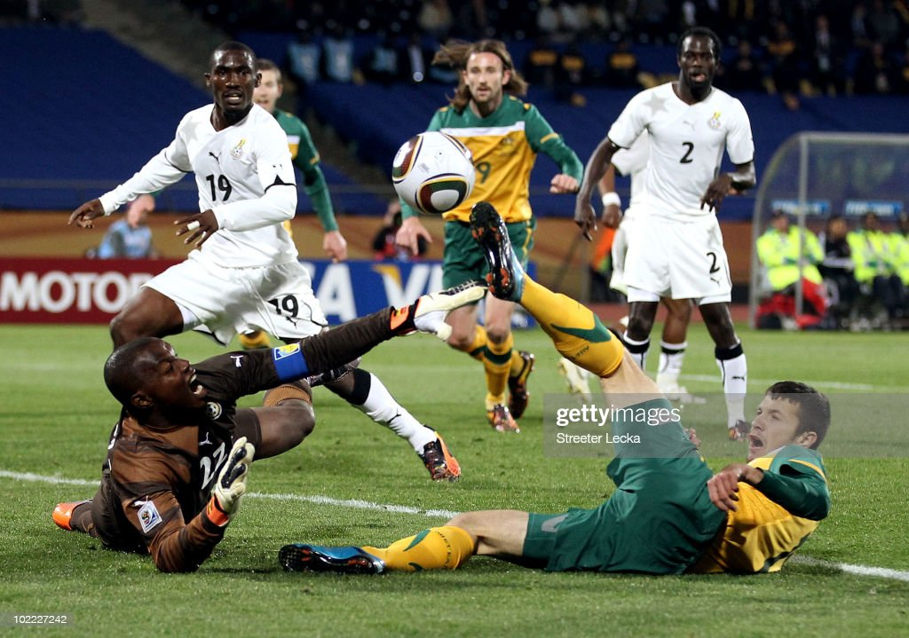 Richard Kingson of Ghana saves a shot by Nikita Rukavytsya of Australia during the 2010 FIFA World Cup South Africa Group D match between Ghana and Australia at the Royal Bafokeng Stadium on June 19, 2010 in Rustenburg, South Africa.