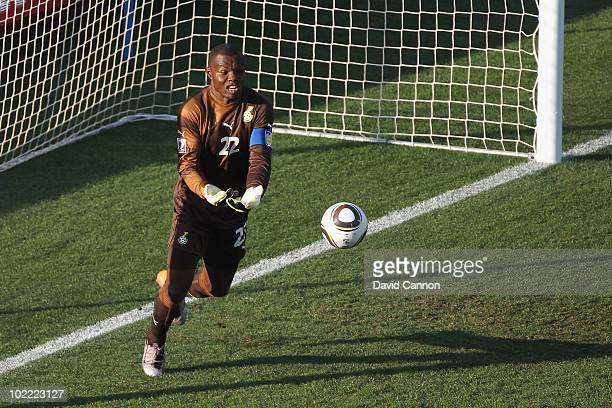 Richard Kingson of Ghana spills the ball from a free kick and Brett Holman of Australia scores from the rebound during the 2010 FIFA World Cup South...
