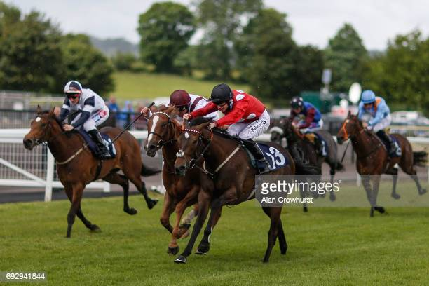 Richard Kingsote riding So Hi Society win The Capitol Skoda Fillies Novice Stakes at Chepstow racecourse on June 6 2017 in Chepstow Wales