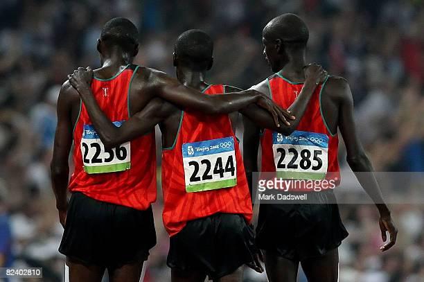 Richard Kipkemboi Mateelong of Kenya, Ezekiel Kemboi Yano of Kenya and Brimin Kipruto of Kenya celebrate after finishing the Men's 3000m Steeplechase...