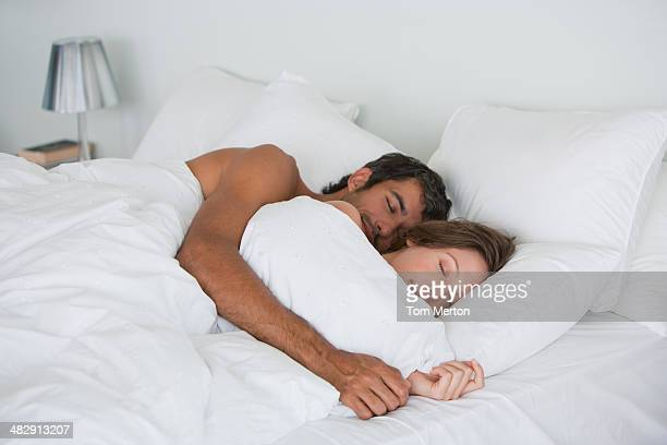 richard & kirstin sleeping in bed 0015 - wife photos stock photos and pictures