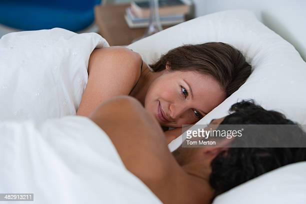 richard & kirstin sleeping in bed 0061 - wife photos stock photos and pictures