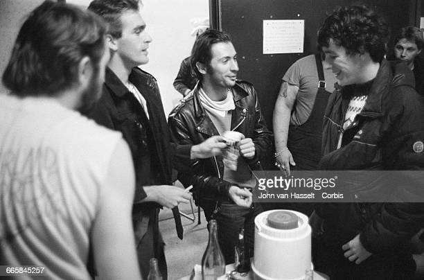 Richard Kolinka and the team backstage on tour with rock group Telephone France October 01 1982