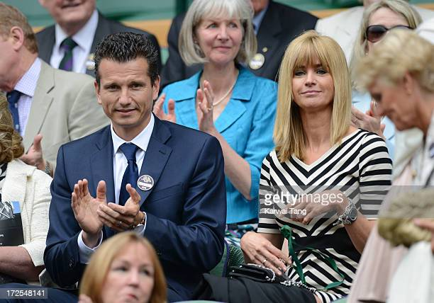 Richard Krajicek and Daphne Deckers attends Day 9 of the Wimbledon Lawn Tennis Championships at the All England Lawn Tennis and Croquet Club on July...
