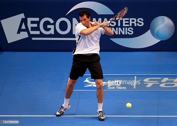 Richard Krajicek of Holland in action during his match with Pat Cash of Australia during Day One of the AEGON Masters Tennis at Royal Albert Hall on...