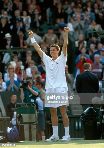 Richard Krajicek of the Netherlands celebrates after defeating MaliVai Washington of the USA in the Men's Singles Final of the Wimbledon Lawn Tennis...