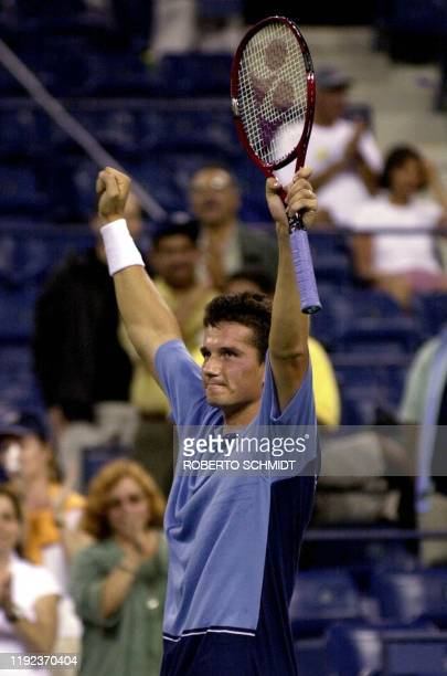 Richard Krajicek of the Netherlands celebrates after defeating Tim Henman of Great Britain at the US Open Tennis Tournament in Flushing Meadows NY 03...