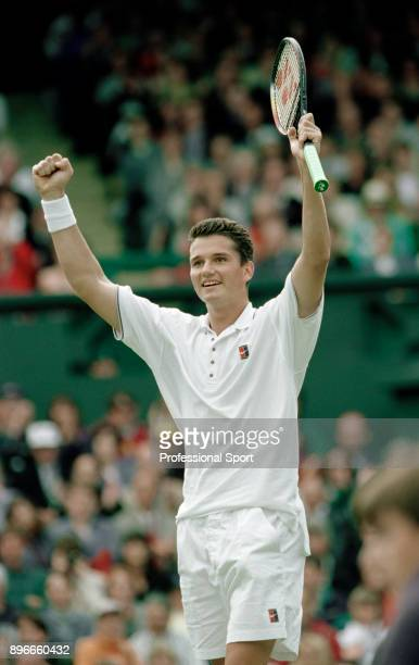 Richard Krajicek of the Netherlands celebrates during the Wimbledon Lawn Tennis Championships at the All England Lawn Tennis and Croquet Club, circa...
