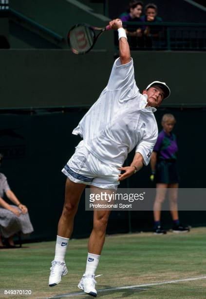 Richard Krajicek of the Netherlands in action during a men's singles match at the Wimbledon Lawn Tennis Championships in London, circa June 1992....