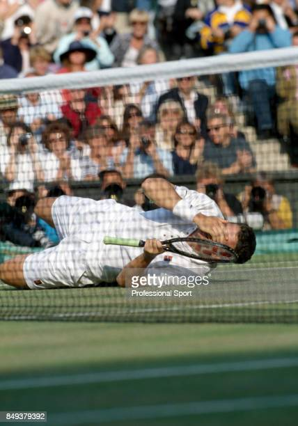 Richard Krajicek of the Netherlands wins the men's singles title in straight sets by defeating MaliVai Washington of the USA during the Wimbledon...