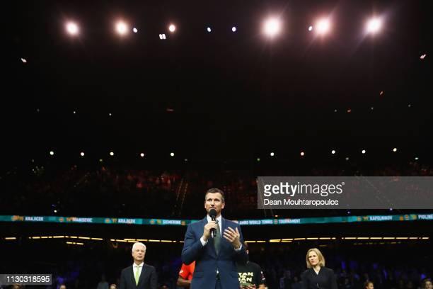 Richard Krajicek, the tournament director of the ABN AMRO World Tennis Tournament speaks to the fans after Gael Monfils of France beats Stan Wawrinka...