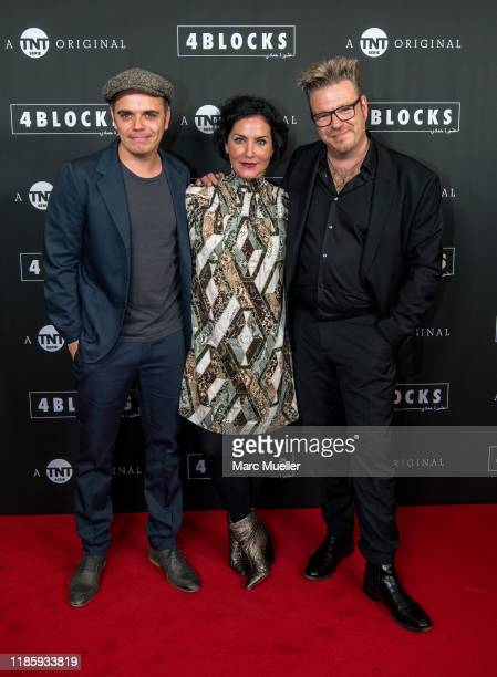 Richard Kropf Marisa Burger and Hanno Hackfort attend the PreviewScreening of TNT Serie Original 4 Blocks held by TNT Serie at Gloria Palast and...