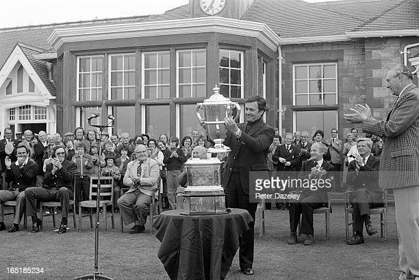 Richard L Siderowf of the United States receives the Walker Cup at the presentation ceremony during the final day of the 1979 Walker Cup Matches at...