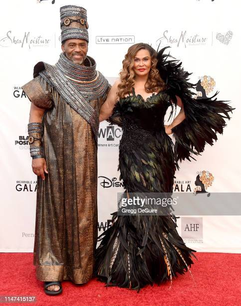 Richard Lawson and Tina Knowles-Lawson arrive at the WACO Theater Center's 3rd Annual Wearable Art Gala at The Barker Hangar at Santa Monica Airport...