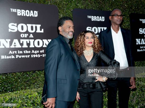 Richard Lawson Tina Knowles Lawson and Mark Bradford attend The Broad Museum celebration for the opening of Soul Of A Nation Art in the Age of Black...