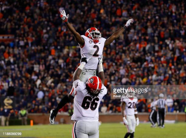 Richard LeCounte of the Georgia Bulldogs reacts after a defensive stop on fourth down in the final seconds to secure a 21-14 win over the Auburn...