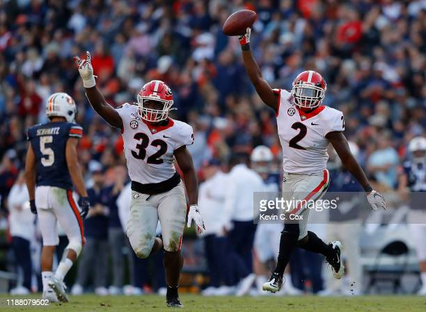 Richard LeCounte of the Georgia Bulldogs reacts after recovering a fumble by Bo Nix of the Auburn Tigers in the first half at JordanHare Stadium on...