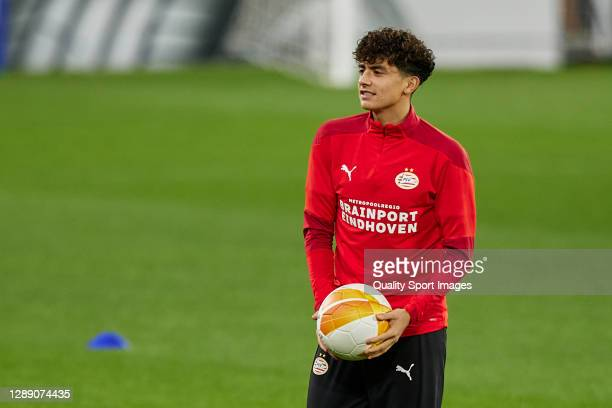 Richard Ledezma of PSV Eindhoven looks on during training session ahead of the UEFA Europa League Group E stage match between PSV Eindhoven and...