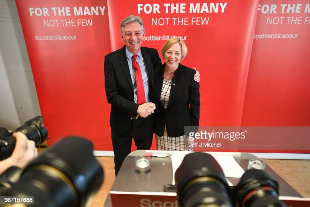 Richard Leonard leader of the Scottish Labour party introduces his new deputy leader Lesley Laird during a speech on SNP cuts on June 4 2018 in...