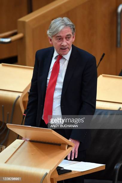 Richard Leonard MSP Leader of the Scottish Labour Party asks a question during the session in which First Minister of Scotland Nicola Sturgeon...