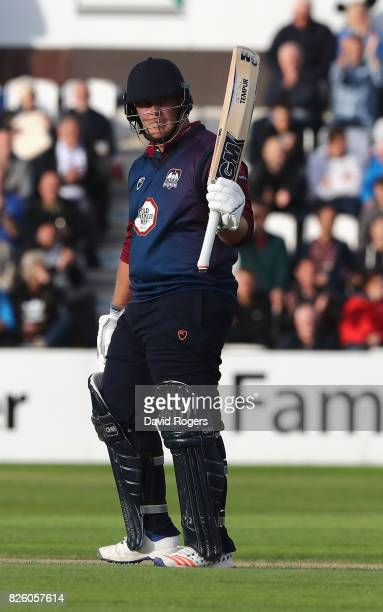 Richard Levi of Northamptonshire celebrates his half century during the NatWest T20 Blast match between Northampton Steelbacks and Lancashire...