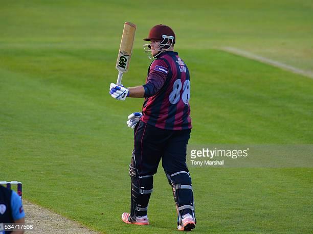 Richard Levi of Northamptonshire celebrates reaching his 50 during the NatWest T20 Blast match between Northamptonshire and Derbyshire at The County...