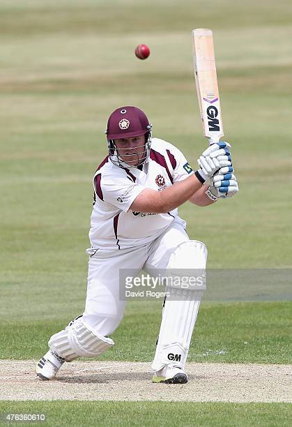 Richard Levi of Northamptonshire drives the ball for four runs during the LV County Championship division two match between Northamptonshire and...