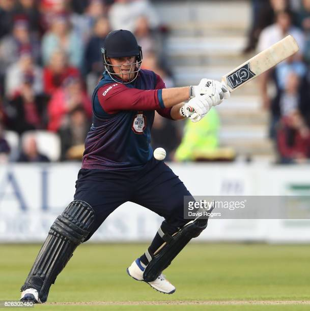 Richard Levi of Northamptonshire hits a boundary during the NatWest T20 Blast match between Northampton Steelbacks and Lancashire Lightening at The...