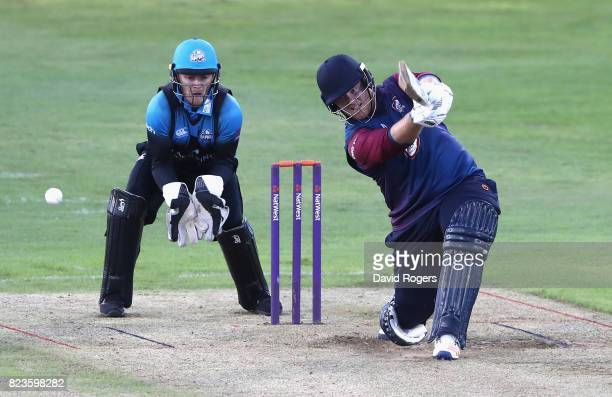 Richard Levi of Northamptonshire hits a four during the NatWest T20 Blast match between Northamptonshire Steelbacks and Worcestershire Rapids at The...