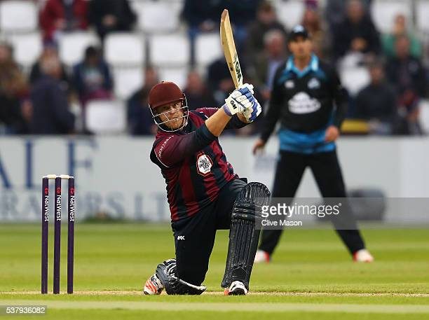 Richard Levi of Northamptonshire in action batting during the NatWest T20 Blast match between Northamptonshire and Worcestershire at The County...