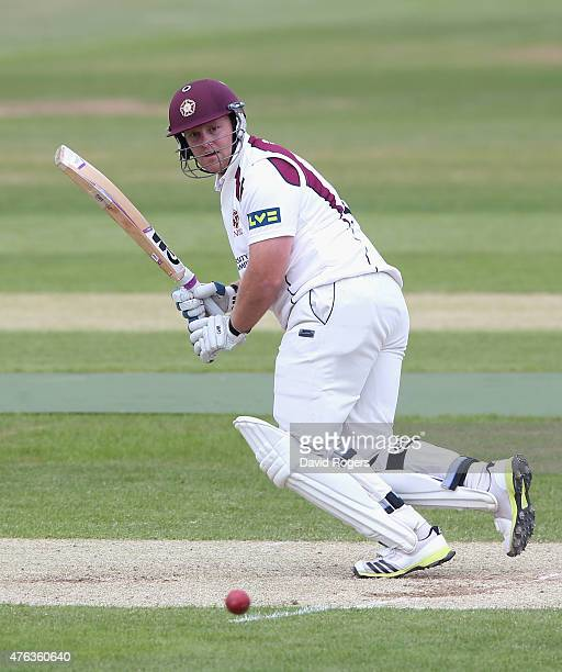 Richard Levi of Northamptonshire plays the ball off his legs for four runs during the LV County Championship division two match between...