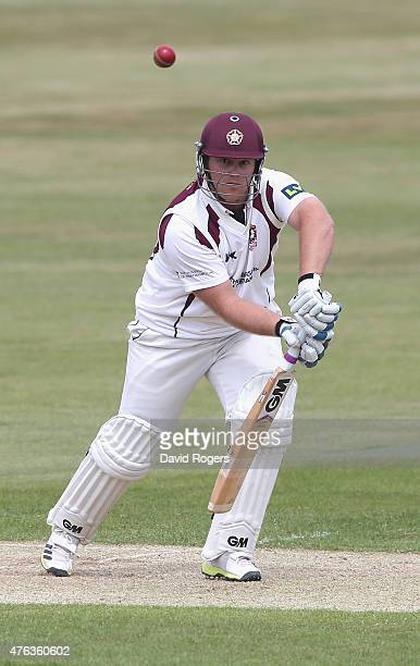 Richard Levi of Northamptonshire scores four runs during the LV County Championship division two match between Northamptonshire and Essex the County...