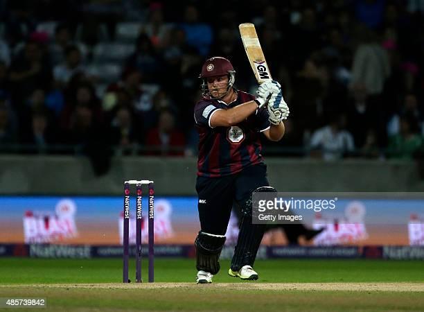 Richard Levi of Northamptonshire scores runs during the NatWest T20 Blast Final between Lancashire Lightning and Northamptonshire Steelbacks at...