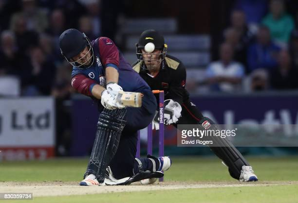 Richard Levi of Northamptonshire skies the ball and is caught by Aadil Ali during the NatWest T20 Blast match between the Northamptonshire Steelbacks...